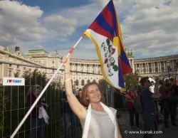 FRANCESCA VON HABSBURG AT THE VISIT OF THE DALAI LAMA1-IN FRONT OF THE VIENNISE HOFBURG - VIENNA2012